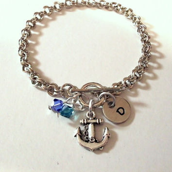 Anchor Bracelet, Personalized Jewelry, Ocean Jewelry, Beach Jewelry, Hand Stamped Jewelry