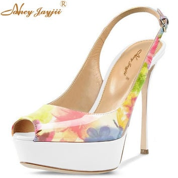 White Flower Slingbacks Sexy Patch Platform Floral Print Open Toe Sandals High Heels 14cm Shoes Woman Wedding&Party Nancyjayjii