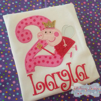 Peppa Pig Fairy Birthday Custom Tee Shirt - Customizable -  Infant to Youth