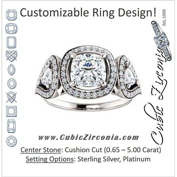 Cubic Zirconia Engagement Ring- The Cordelia (Customizable Cathedral-set Cushion Cut Design with 2 Trillion Cut Accents, Halo and Split-Pavé Band)
