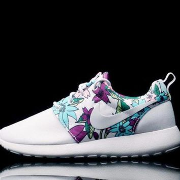 """NIKE"" Trending Women Men Leisure Floral Print Running Sport Shoes Sneakers White I"