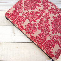 Red damask MacBook Air 11 sleeve zipped, MacBook Air 11 case, Mac Air 11 Cover, Mac Air 13 sleeve, Mac Pro 13 case, Mac Pro 13 Retina sleeve