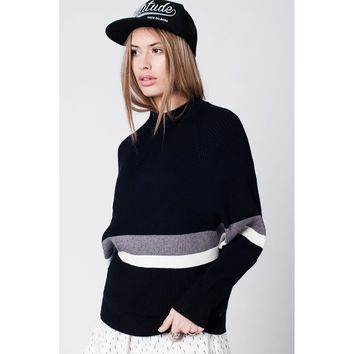 Black knitted jumper with stripe