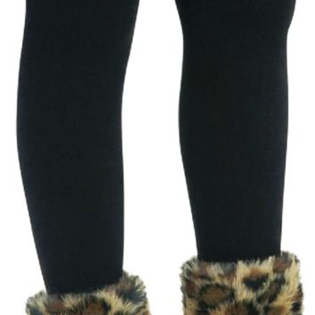 Black and Leopard Fur Footless Tights (sz 4-8)