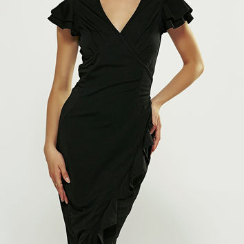 V-Neck Mini Ruffled Sleeve Sheath Black Dress