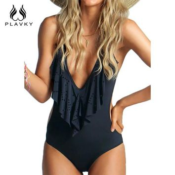 Sexy Plunging Neck Flouncing High Cut Trikini Push Up Thong One Piece Swimsuit