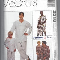 McCall's 2518 Pattern for Father & Son Matching Pajamas, All Sizes, From 1999