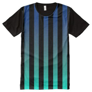 Royal Blue Ombre Stripes (Customizable Colors) All-Over Print T-shirt
