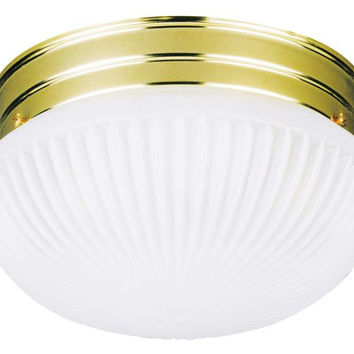 One-Light Indoor Flush-Mount Ceiling Fixture, Polished Brass Finish with Satin White Ribbed Glass