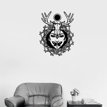 Wall Decal Girl Skull Animal Butterfly Magic Occult Vinyl Sticker Unique Gift (ed610)