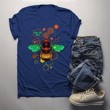Men's Save The Bees Shirt Graphic Tee Illustrated T-Shirt Shirt Hipster Bee Keeper Gift Idea