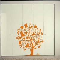 Wall Mural Vinyl Sticker Decal Cute Tree with Wardrobe Clothes A1331