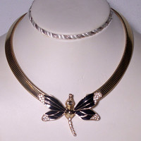 Vintage Black Enamel Dragonfly Necklace with Rhinestones
