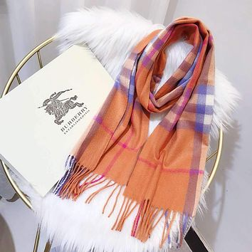 Burberry Autumn Winter Classic Women Men Warmer Cashmere Cape Scarf Scarves Shawl Accessories Orange