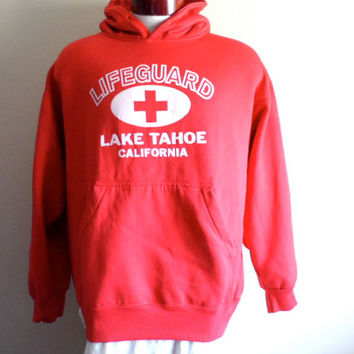 vintage 80's Lake Tahoe California Lifeguard uniform graphic hoodie sweatshirt red fleece hooded pullover jumper kangaroo pouch made in usa