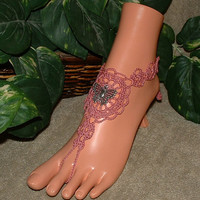 Crochet Butterfly Barefoot Sandals, Jewelry, Footless, Beach, Sandal, Charms, Anklet, Dance, Yoga, Shoes