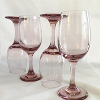 Pink Wine Goblets, Libbey Pink Wine Glasses, Libbey Premier Set of 8