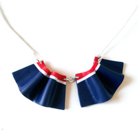 SALE Nautical collar bib necklace Tennis polymer clay necklace small two-piece navy blue-red-white necklace frills ruffle necklace ooak
