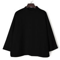 Black High Neck Side Split Long Sleeve Loose Sweatshirt
