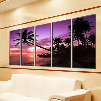 Large Canvas Prints - Beach Canvas Art  - Beach Photo Canvas - Sunset Wall Decor - Framed Ready to Hang - Ocean Theme Decor