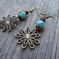 Bronze Flower Blue Green Amazonite Wire Wrapped Handmade Dangle Earrings Earring Jewelry Floral