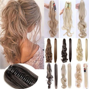 Claw on Pony Tail Hair Extensions Long Curly Straight Hairpieces Natural US sss1