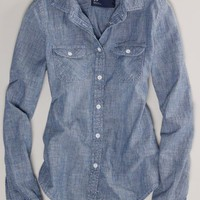 AEO Women's Chambray Western Shirt (Blue)
