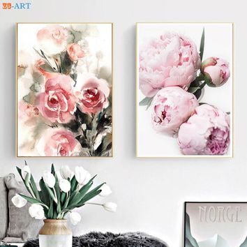 Pink Roses Peony Prints Watercolor Painting Flowers Botanical Modern Wall Art Canvas Painting Women Home Decor Framed Gift
