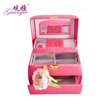 Three Layer Leather Jewelry Box Box 24.5*16*16cm