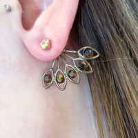 Bronze Rose Gold Brass Sunburst Ear Jackets Earring Stud Sun Burst Post 2-Piece Drop Split Front Back In Out Jewelry