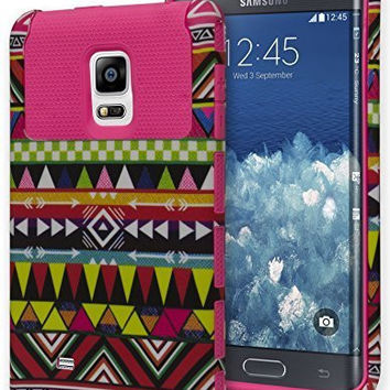 Samsung Galaxy Note Edge, Hybrid   Pink Silicone with Aztec Case