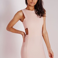 CREPE CUT OUT RACER BODYCON DRESS NUDE