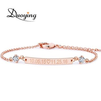 DUOYING Crystal 30*4 mm Bar  Bracelet Custom Engraved Name Personalized Initial Bracelet With Zirconia Bracelet For Women Etsy