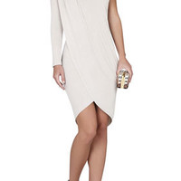 BCBG Jolee One-Shoulder Pleated Tulip-Hem Dress