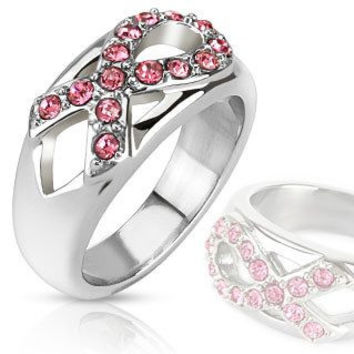 Pink Ribbon Sparkler - Breast Cancer Awareness Symbol with Pink CZ Stainless Steel Ring