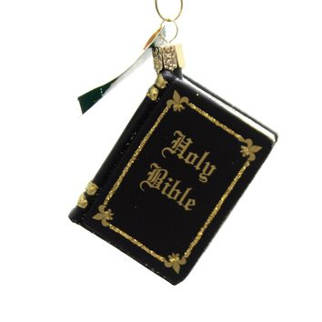 Old World Christmas BIBLE BLACK Glass Religious Baptism 32085 Black