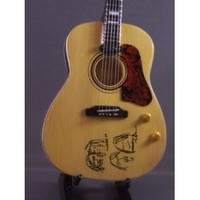 Mini Guitar BEATLES JOHN LENNON Acoustic PEACE Statuette GIFT