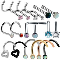 20G Fashion Stainless Steel Crystal Rhinestone Nose Studs Bar Pin Nose Rings Body Piercing Jewelry For Women