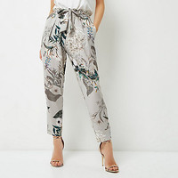Petite grey floral print tapered trousers
