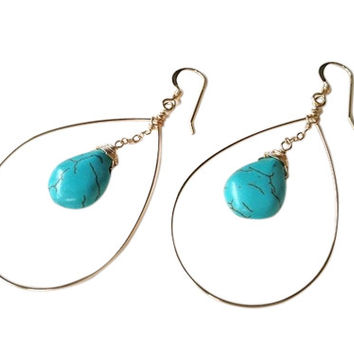 Bari Turquoise Circle Drop Earrings