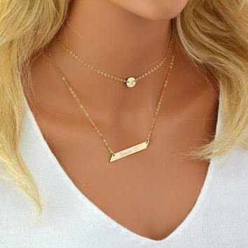 Chain Choker Necklace, Initial Choker Necklace, Initial Disc, Personalized Necklace Bar, Layered Necklace Set, Gold, Silver, Rose