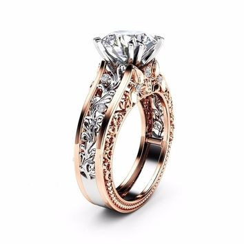 Fashion 6-10 Gold & Unique Sterling Silver Round Cut White Topaz Champagne Women Weddiing Engagement Jewelry Ring