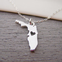 Florida State Heart Cut Out Charm Sterling Silver Necklace / Gift for Her - Florida Necklace - State Necklace - Geography Necklace