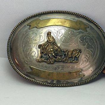 Vintage Alpaca Silver Cowboy Belt Buckle Oval Round Western Embossed Laced Leather Boho Rodeo for Men Soaring Hawk Vintage