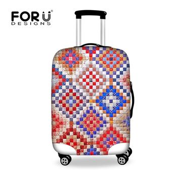 FORUDESIGNS Vintage 3D Plaid Luggage Protective Cover for 18-30 Inch Case Elastic Trolley Suitcase Rain Cover Travel Accessories