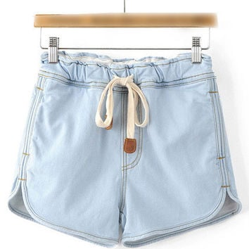Drawstring Waist Pocket Denim Shorts