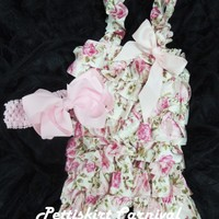 Newborn Baby Girls Light Pink Rose Satin Petti Rompers Straps Bow Headband 2pc