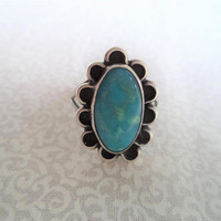 Turquoise and silver ring/ vintage flower native style ring/ turquoise flower ring size 7