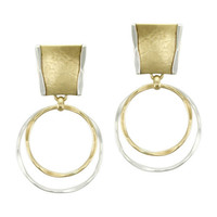 Marjorie Baer Clip On Drop Earrings with Brass and Silver Tone Rings