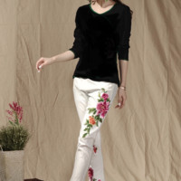 Floral embroidered pencil pants